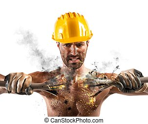 Electric Shock - Electric shock of a man during work