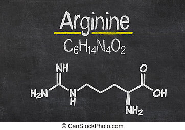 Blackboard with the chemical formula of Arginine