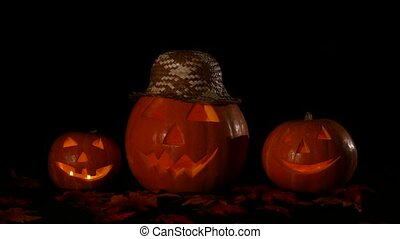 Hellowen pumpkin group with candles