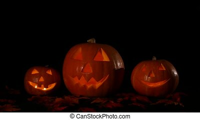Hellowen pumpkin group with candles