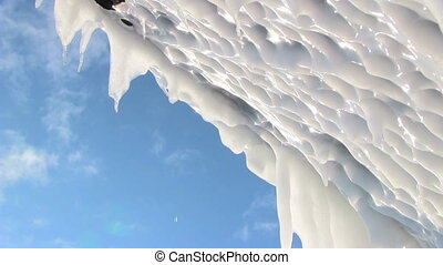 Icicle and dripping close up