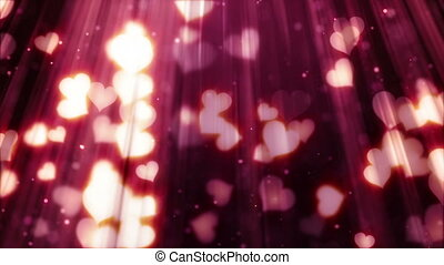 heart shapes flying in light rays loopable background