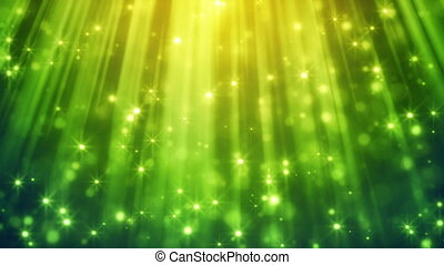 festive glitter particles in green light rays loop - festive...