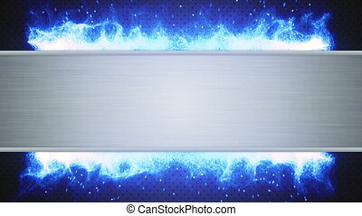 metal plate and blue flame loop - metal plate and blue flame...