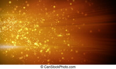 springing gold particles in light beams loop