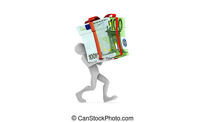 Joe Carrying Euro Gift HD Alpha - Human character carrying...