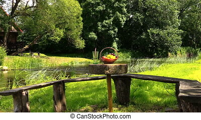 fruits and drinks - Basket with grape and peach fruits and...