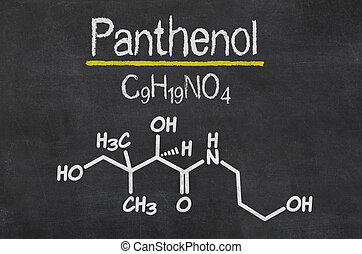 Blackboard with the chemical formula of Panthenol