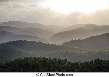 the layer of moutain with sun light
