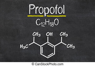 Blackboard with the chemical formula of Propofol