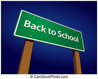Back To School Road Sign Illustration