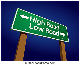 High Road, Low Road Green Road Sign Illustration on a...