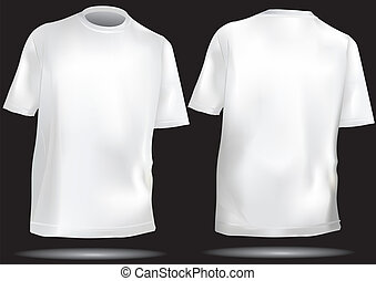 Tshirt template front and back in white