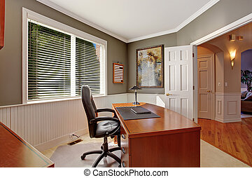 Office room in luxury house - Luxury office room with wooden...