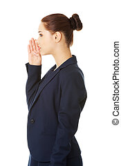 Businesswoman talking gossip - Young business woman talking...