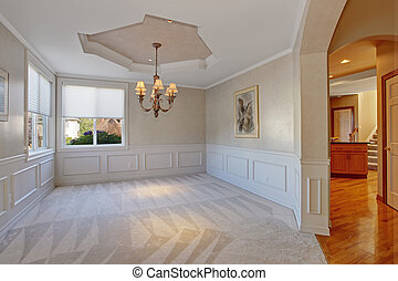 Empty room with trim in luxury house - Empty room with wall...
