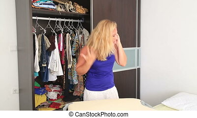 Angry woman talking on the phone - Depressed woman leaving...