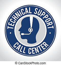 Technical support design over white background, vector...