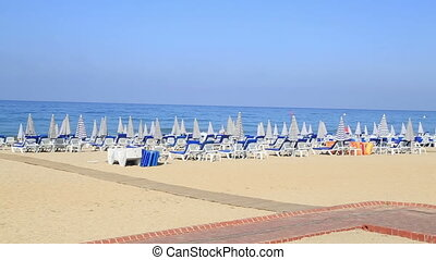Deck Chairs On a Vacation Beach ( Cleopatra beach Alanya...
