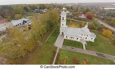 White ortodox church air view