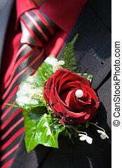 buttonhole - Red rose as buttonhole