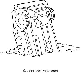 Outline of Crashed Car - Outline cartoon of single car stuck...