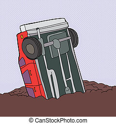 Crashed Red Car - Cartoon of single red car stuck in junk...