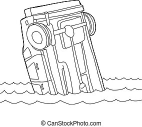 Outline of Car in Water - Hand drawn outline cartoon of car...
