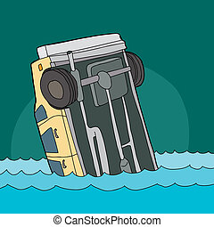 Yellow Car Sinking in Water - Cartoon of single yellow...