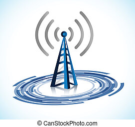 wifi tower connection illustration design over a white...