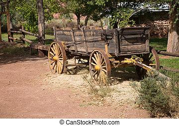 Horse-drawn vehicle - Old Horse-drawn vehicle on a farm