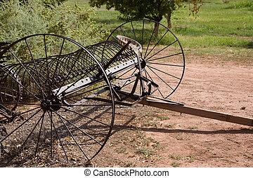 Dump rake - Ancient horse-drawn dump rake, USA