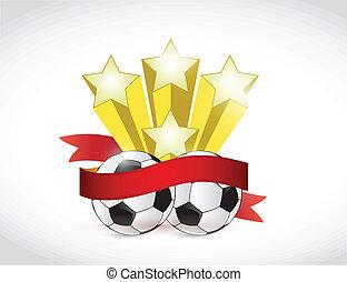 soccer champion ribbon illustration