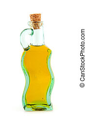 Bottle olive oil - Glass bottle with olive oil isolated over...