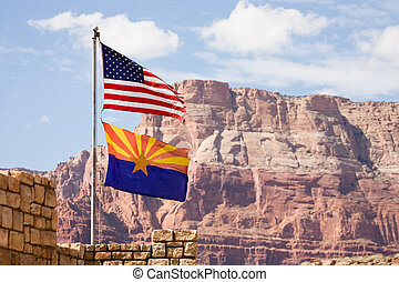 Flag USA and Arizona, blue sky with clouds