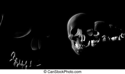 Black and White Scrolling Skulls Looping Horror or Halloween...