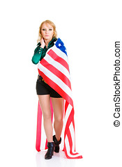 Sexy girl with american flag