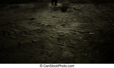 Man walking in dust