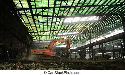 Industrial interior with bulldozer inside - Large industrial...