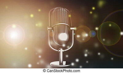 rotate Retro microphone  with flash