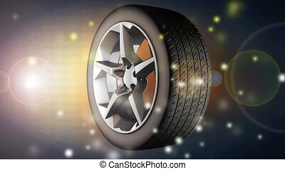 rotate car wheel with flashlight