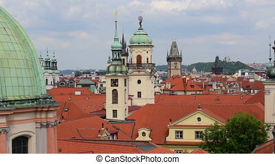 pan over historic roofs and towers - A pan over historic...