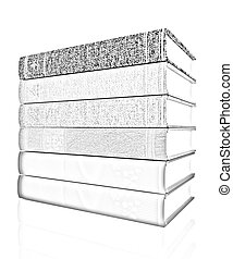 The stack of books on a white background