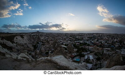 Aerial, night view of Cappadocia - Daynight view of the...