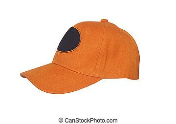 Orange Baseball Cap - New Orange Baseball Cap isolated on...