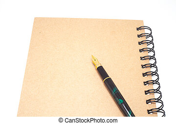 Fountain pen - fountain pen, ink pen on brown note book
