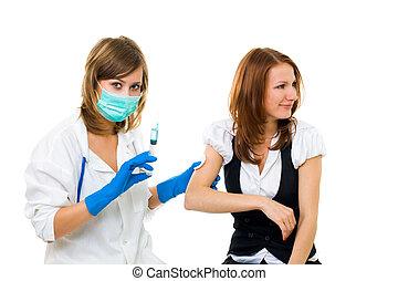 doctor, marca, inyección