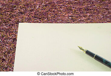 fountain pen - black and gold fountain pen, ink pen on brown...