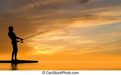 Summer fishing - Silhouette of teenager girl fishing at...