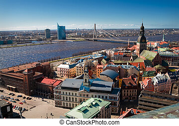 City panaram and view on a bridge in Riga,Latvia from Peter...